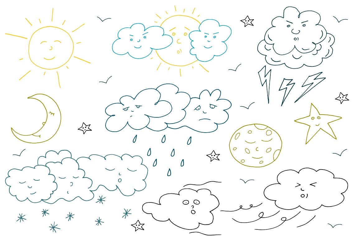 Doodle weather set. example image 3