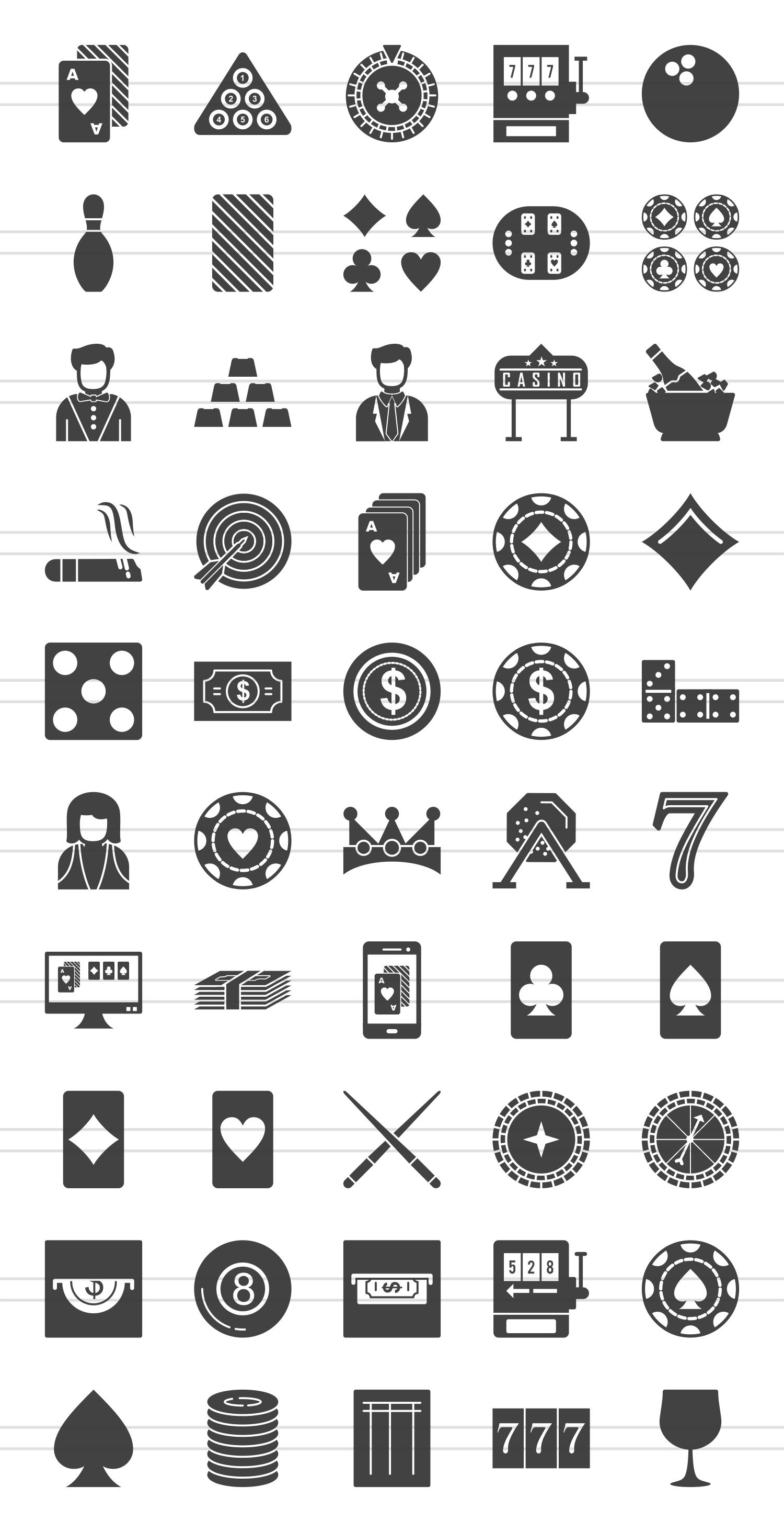 50 Casino Glyph Icons example image 2