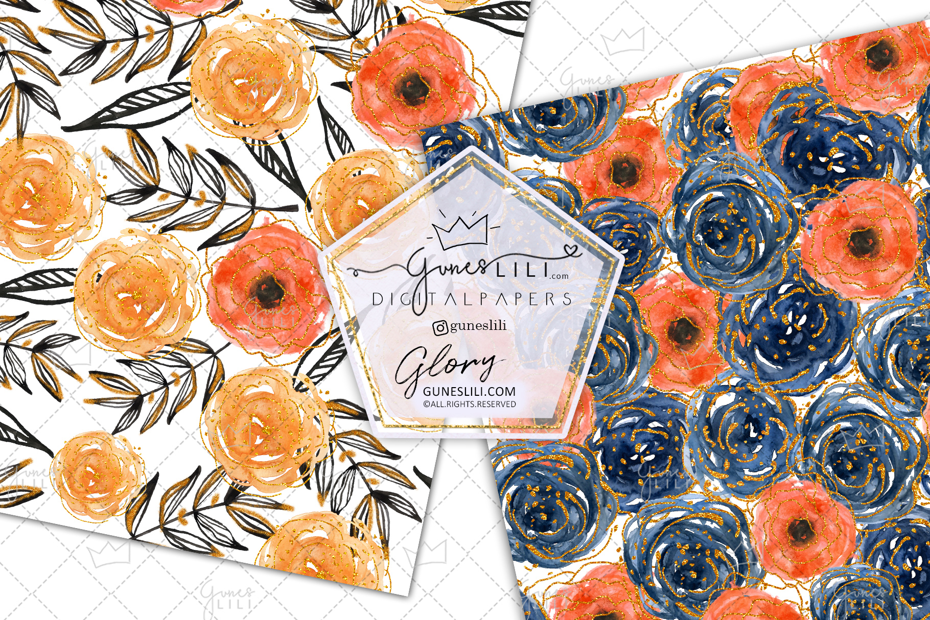 Watercolor Rose Digital Paper Pack Floral Seamless Pattern example image 3