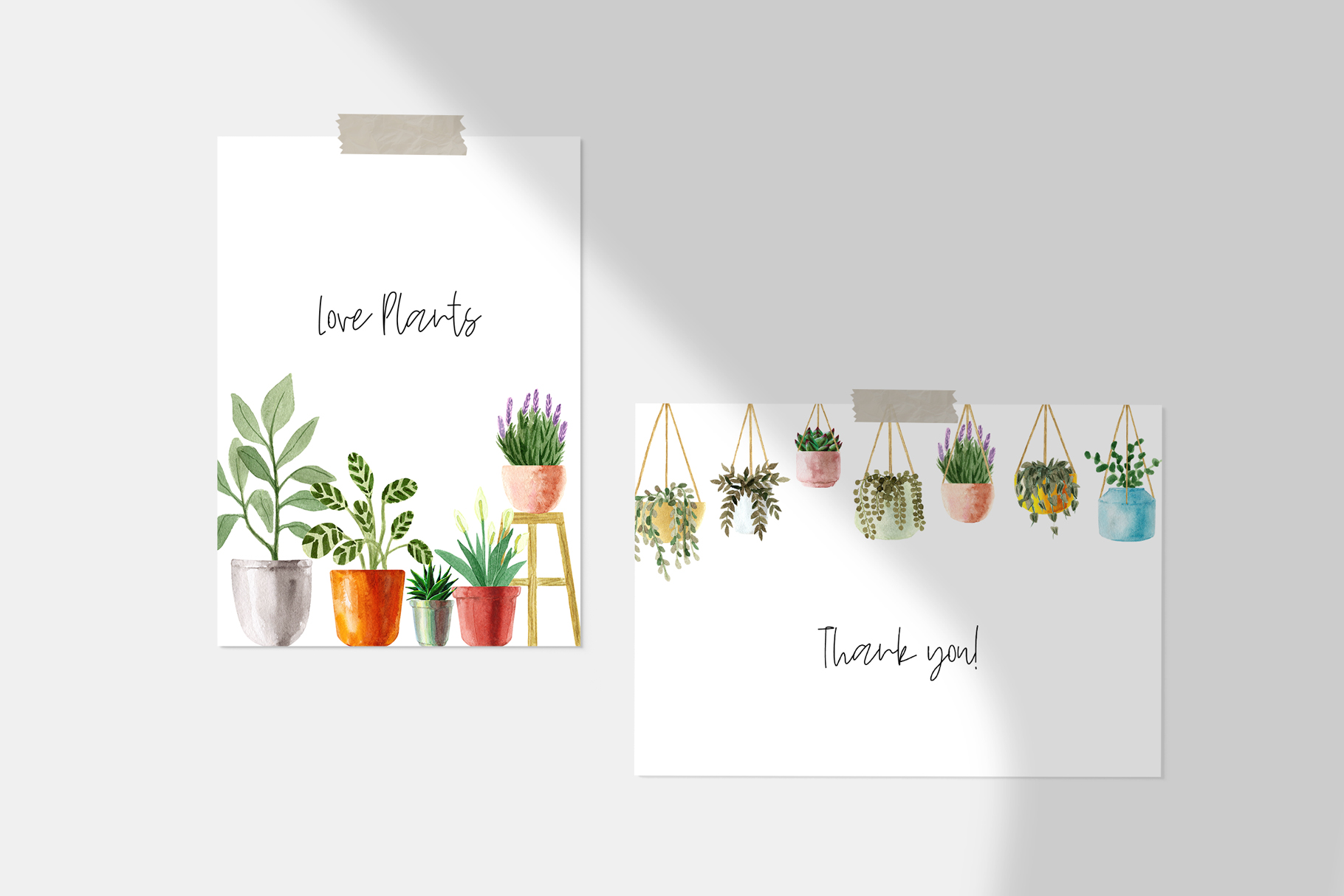 Watercolor House Plants Patterns example image 5