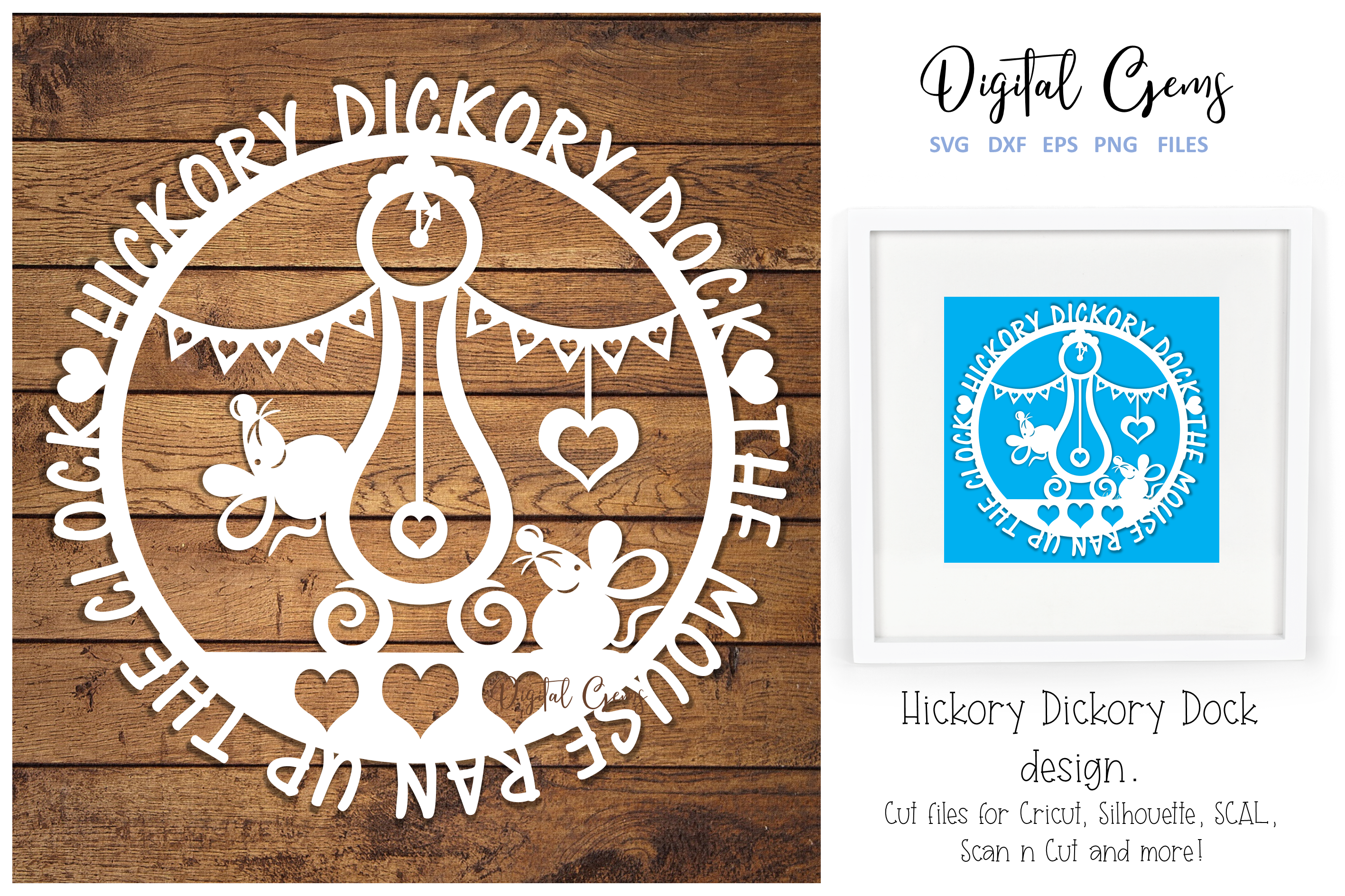 Hickory Dickory Dock, Mouse paper cut design example image 1