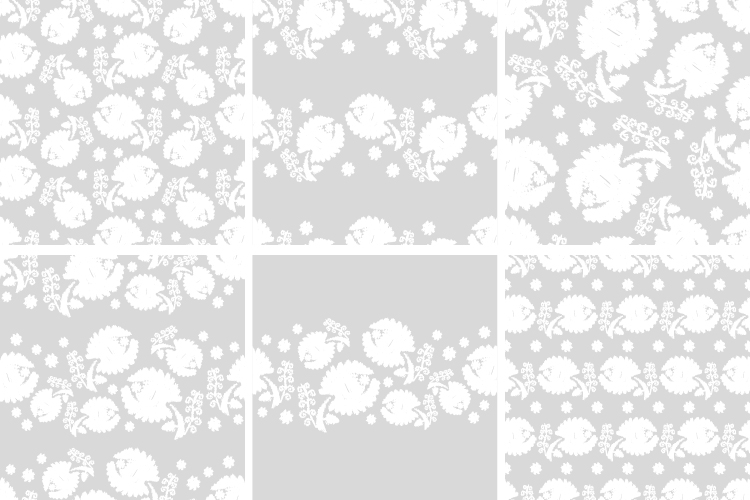 Set of 6 Seamless vector background. White flowers on a gray background. example image 1