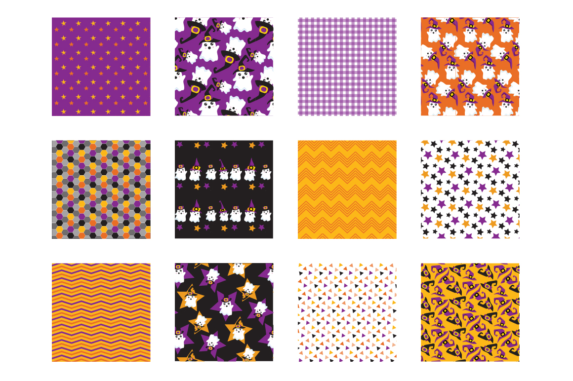 Halloween Ghosts Pattern collection, vector ai, eps example image 2