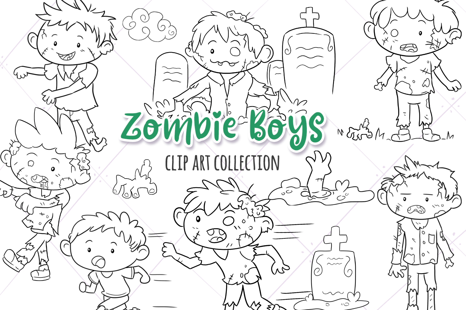 Zombie Boys Digital Stamps example image 1