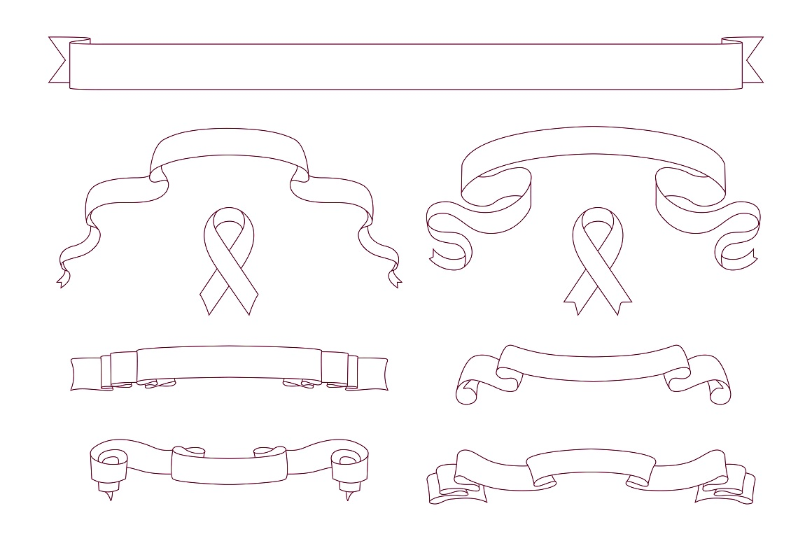 Set of pink beautiful ribbon banners example image 6