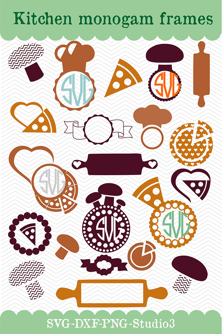 21 kitchen vector designs and monogram templates  - cutting files SVG, DXF, JPG, PNG, DWG, AI, EPS example image 2