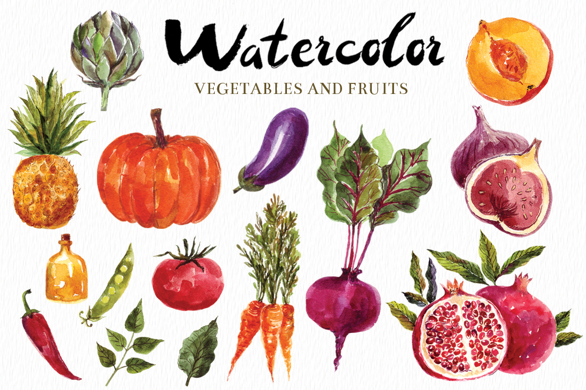 Watercolor vegetables & fruits example image 1