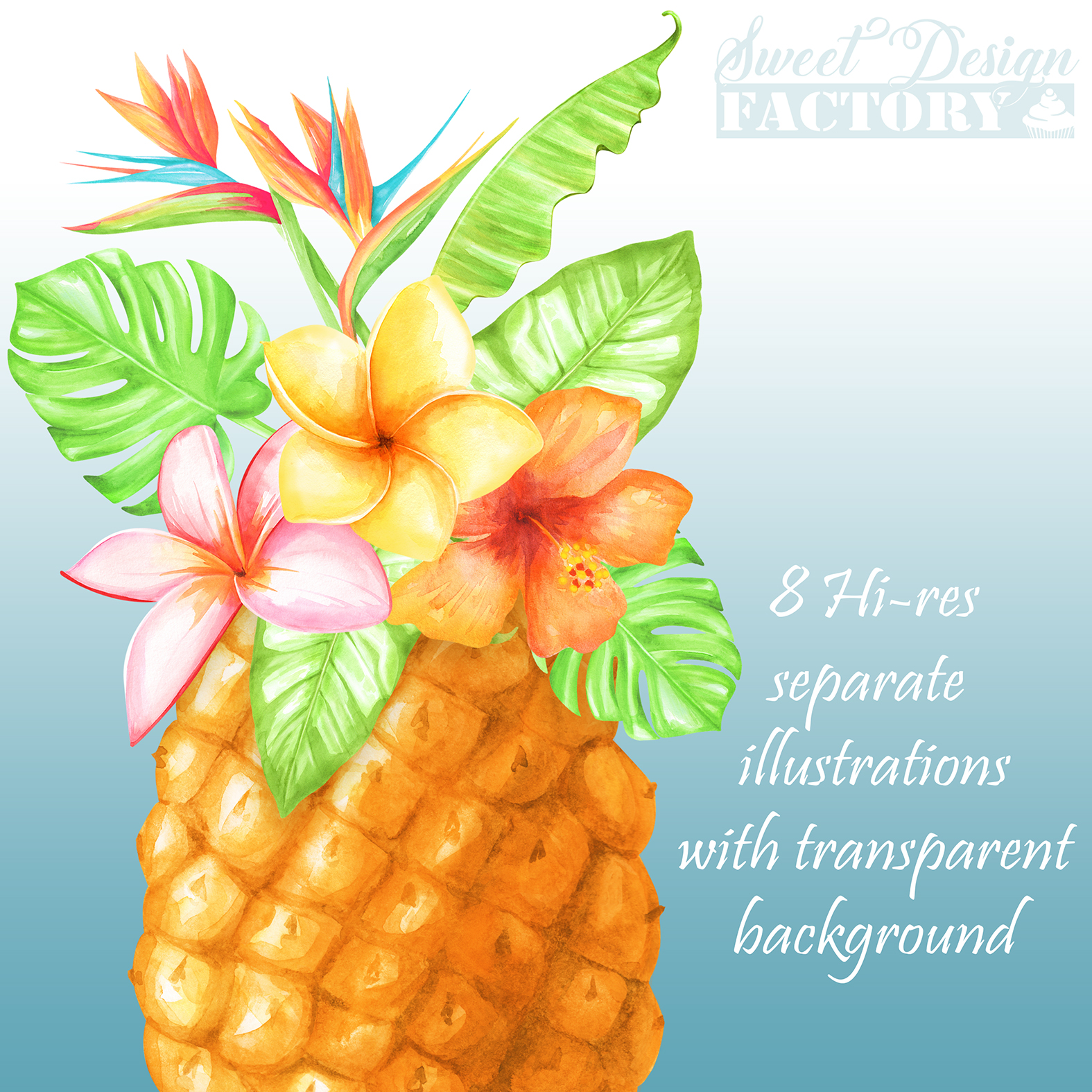Watercolor pineapple clipart example image 7