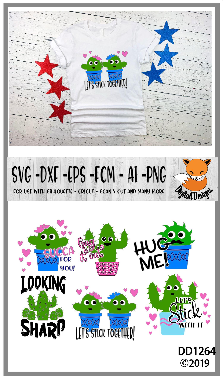 Funny Cactus Valentine SVG Bundle example image 2