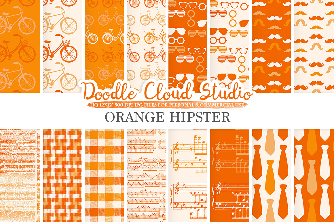 Orange Hipster digital paper Vintage Father's day tie mustaches bikes music glasses plaid pattern Instant Download Personal & Commercial Use example image 1