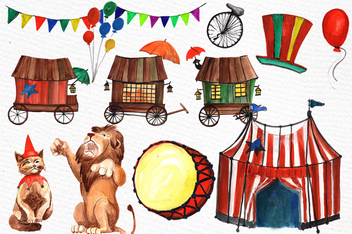Watercolor circus clipart example image 2