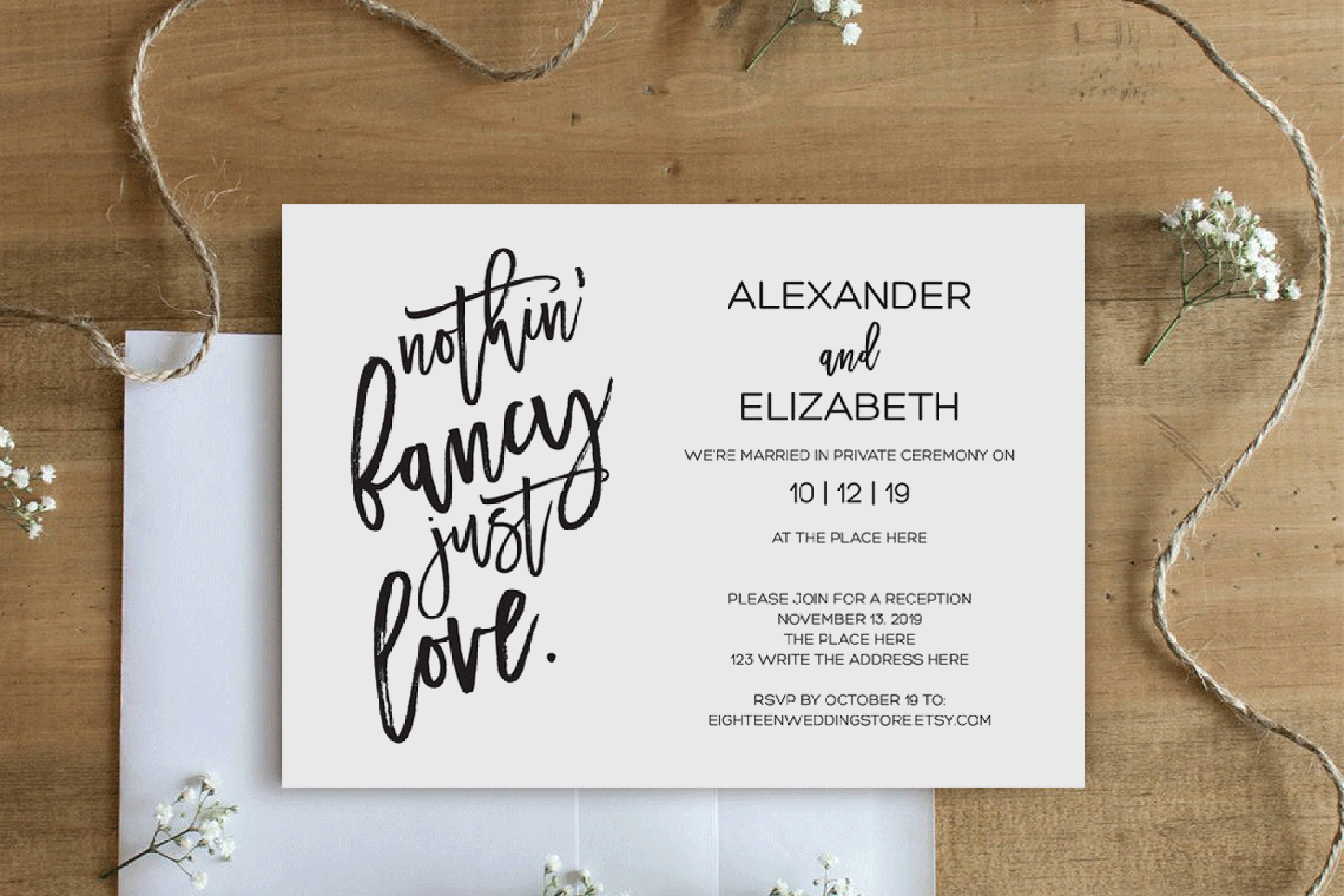Elopement reception invitation, nothin fancy just love example image 3