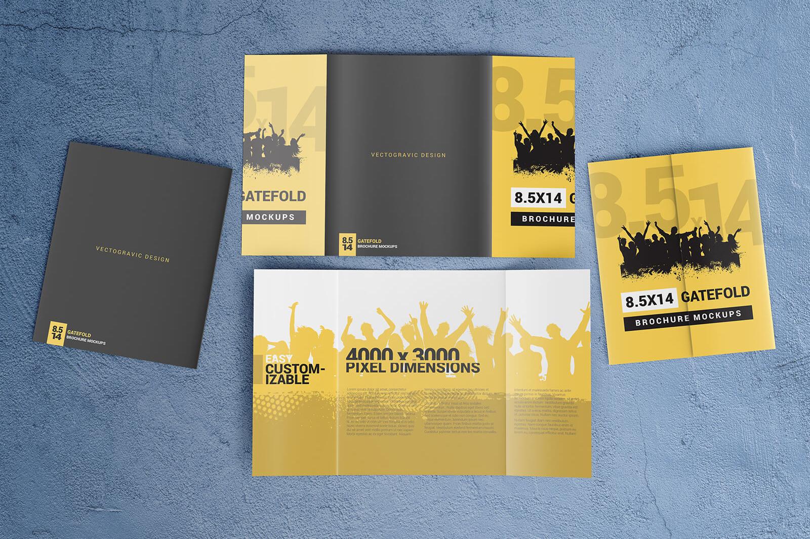 8 5u00d714 Gatefold Brochure Mockups