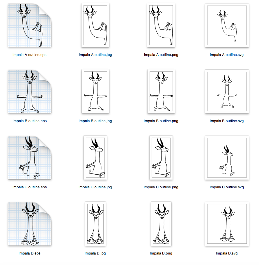 Yoga 4 designs - Outline and Colored SVG-EPS-JPG-PNG example image 3