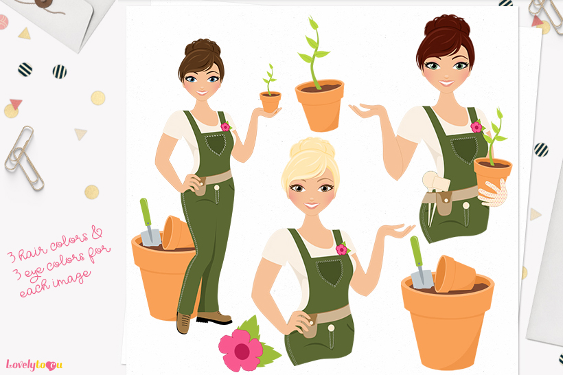 Gardening woman character clip art L289 Carly example image 1