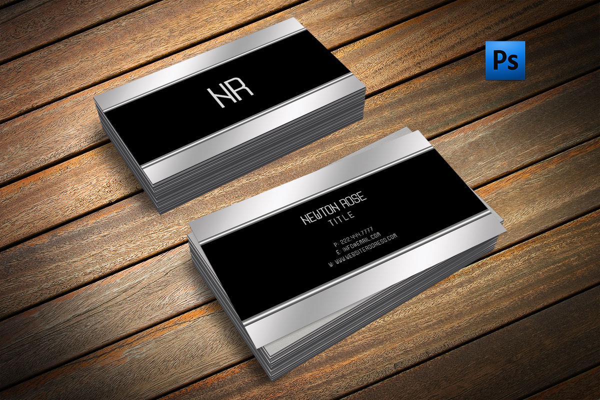Silver metal finish business card  example image 1