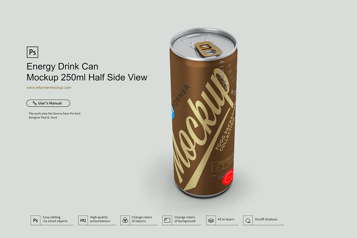 Energy Drink Can Mockup 250ml Half Side View example image 2