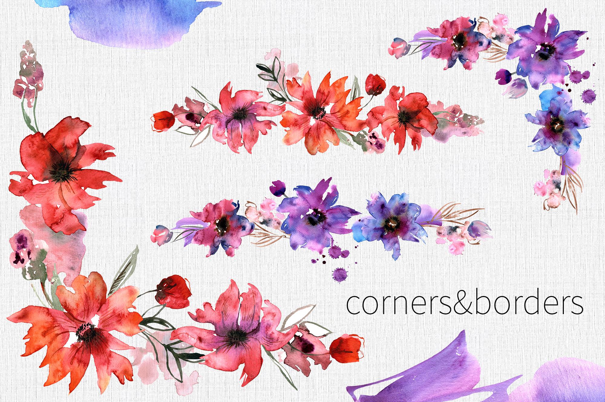 Watercolor Purple Flowers example image 5