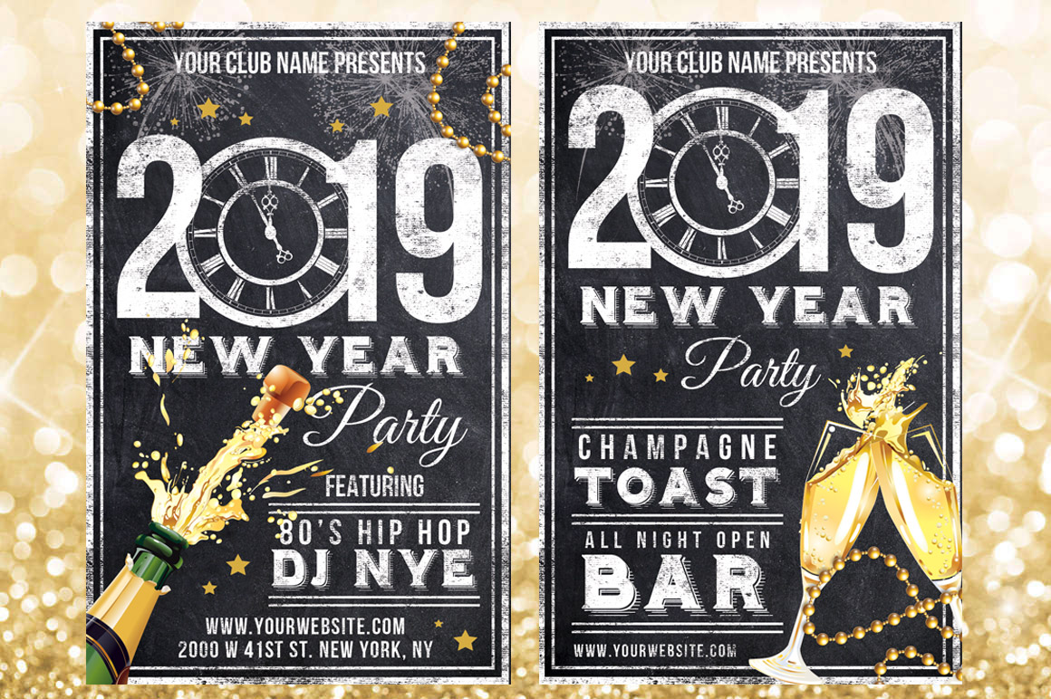 Chalk New Years Eve Flyer example image 2