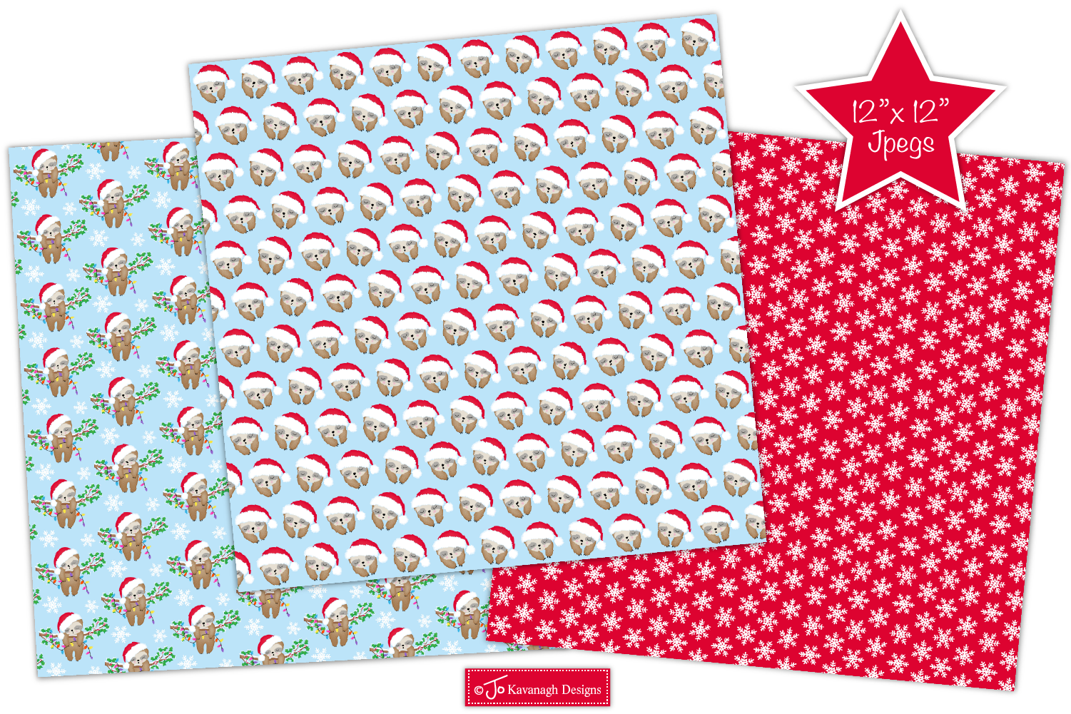 Christmas Sloth Digital Papers, Christmas Patterns -P43 example image 4