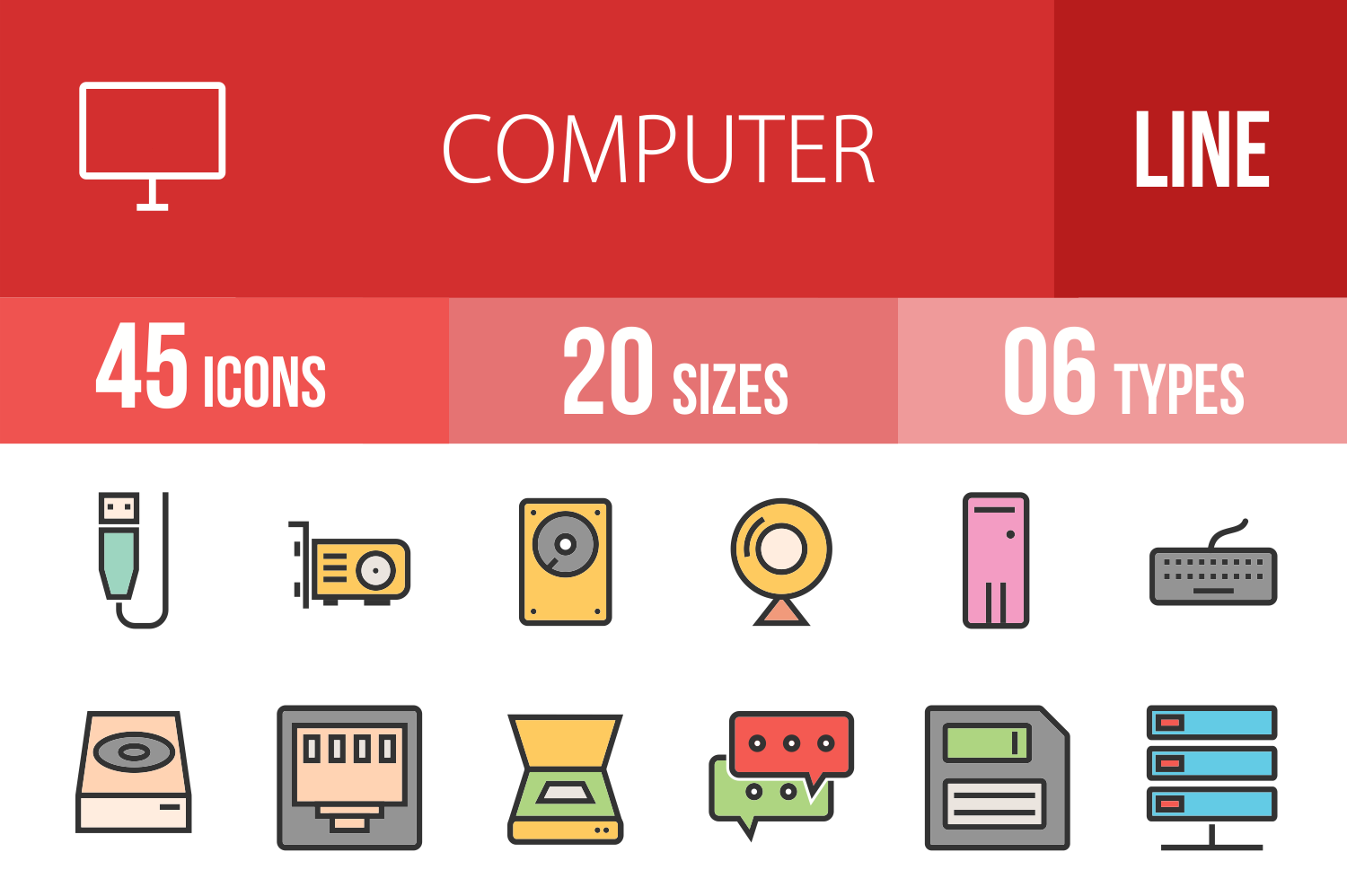 45 Computer Linear Multicolor Icons example image 1