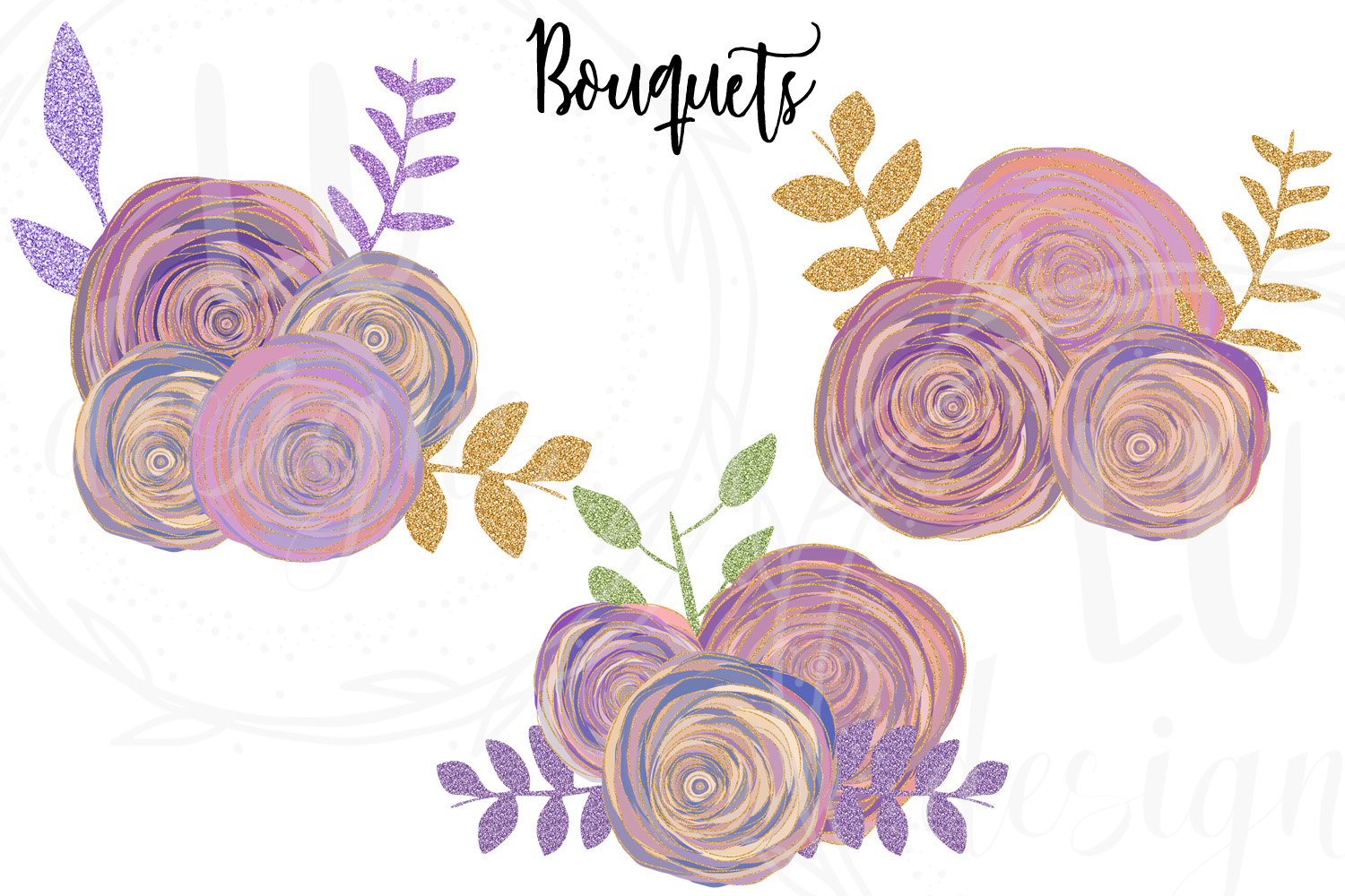 Floral and Glitter Clipart, Purple Flowers Graphics example image 4