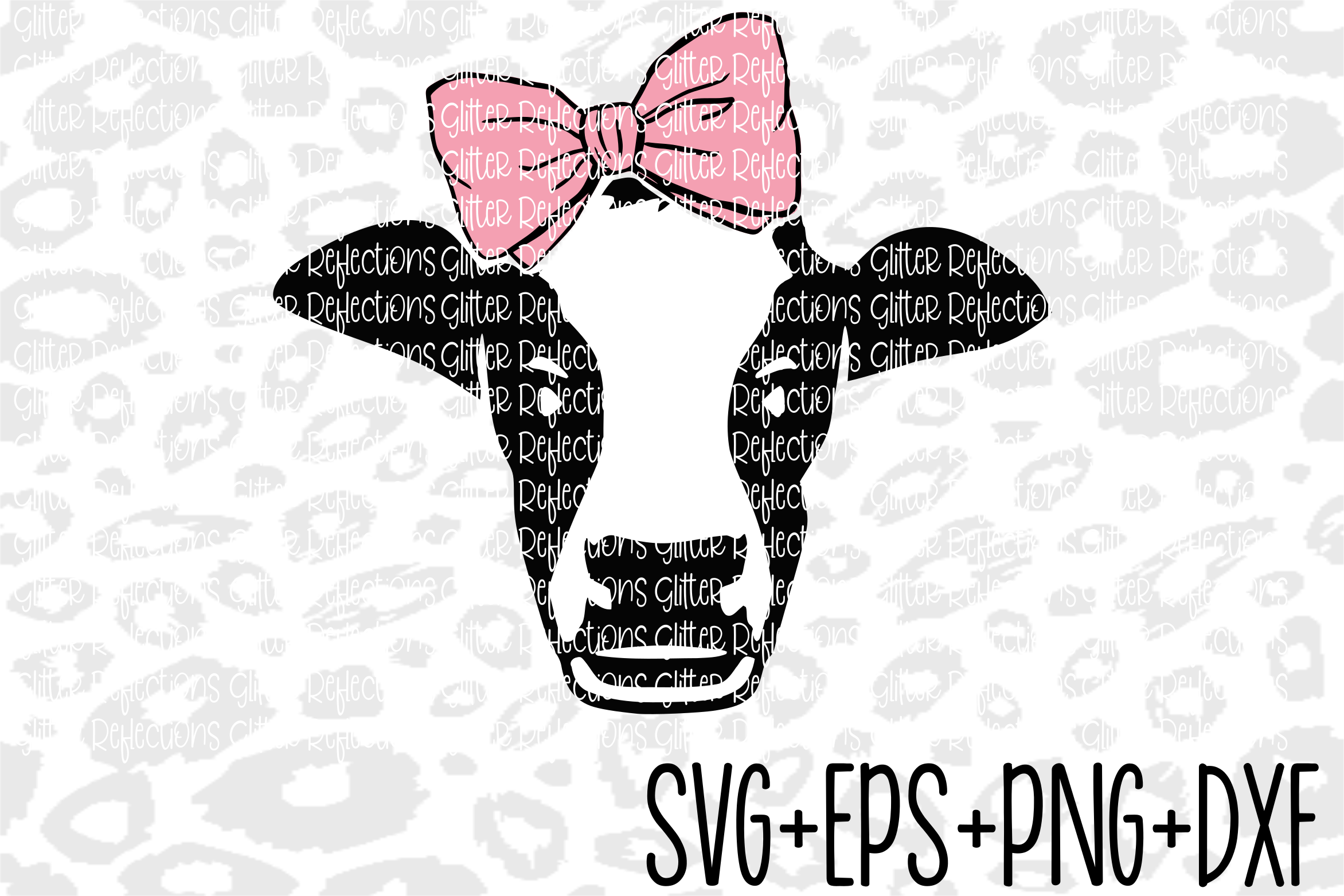 Cow Svg - Bow Svg- Cow Bow - Cricut File- Cut File - example image 1