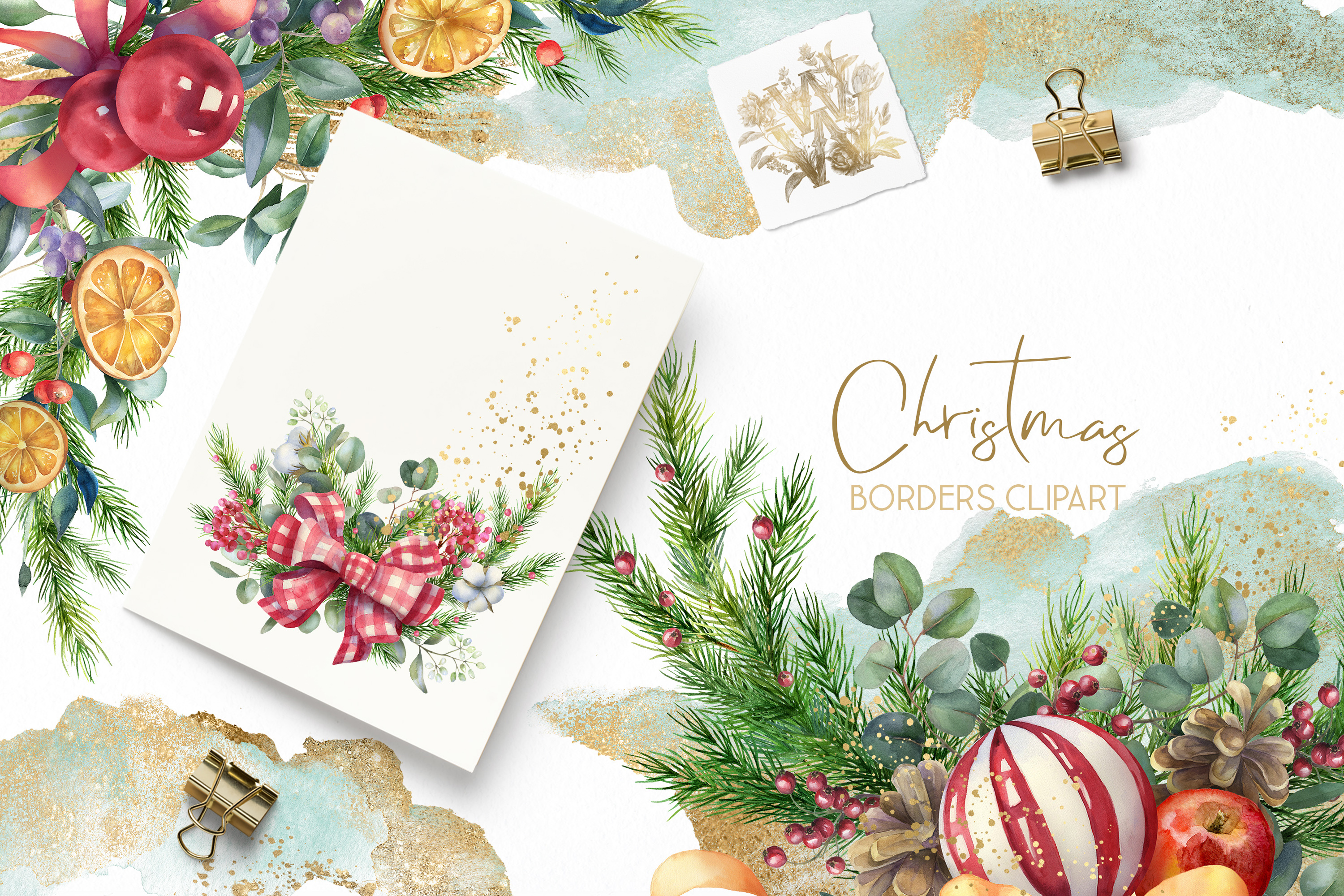 Christmas Watercolor Floral bouquets clipart, Winter wedding example image 6