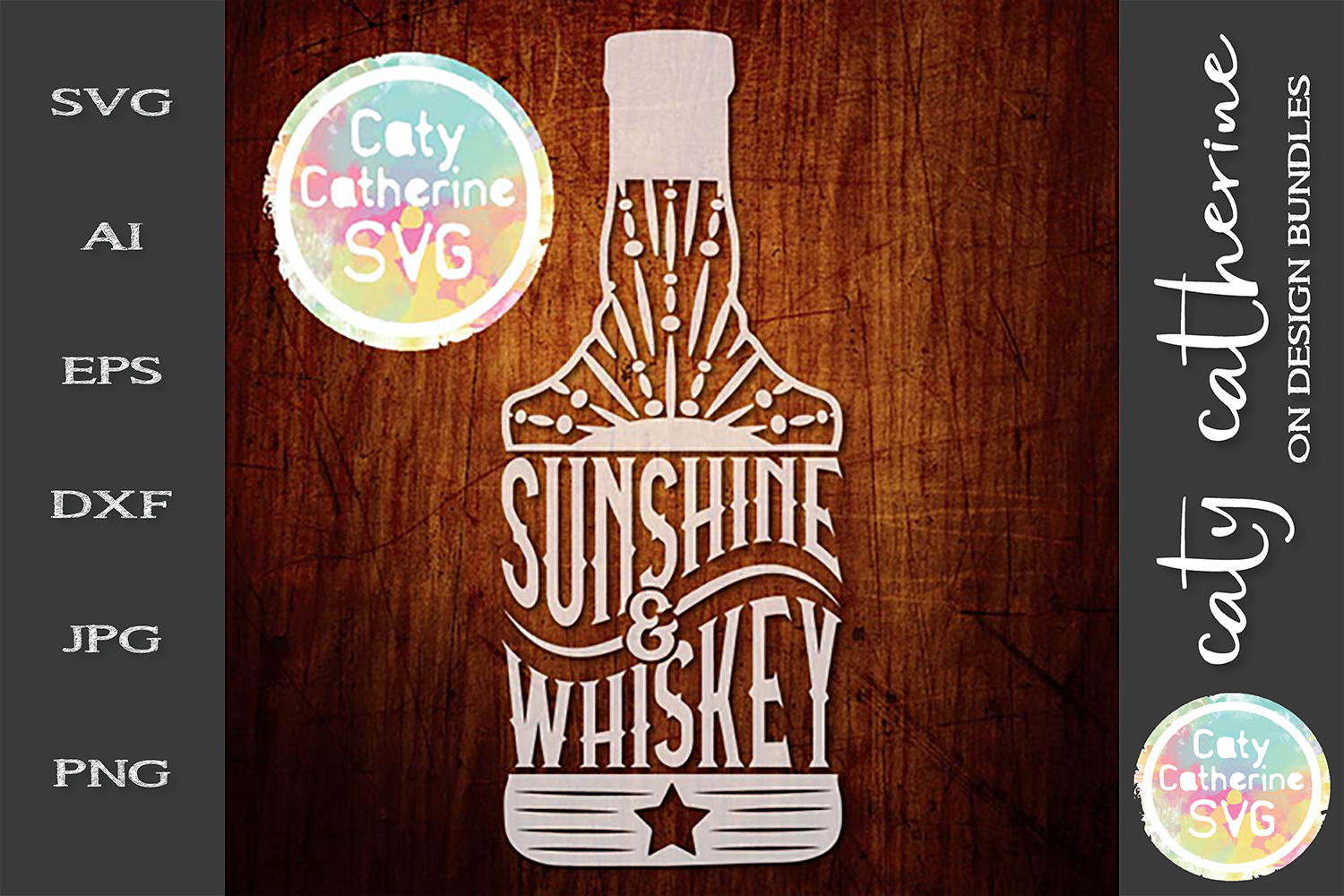 Sunshine And Whiskey SVG Cut File example image 1