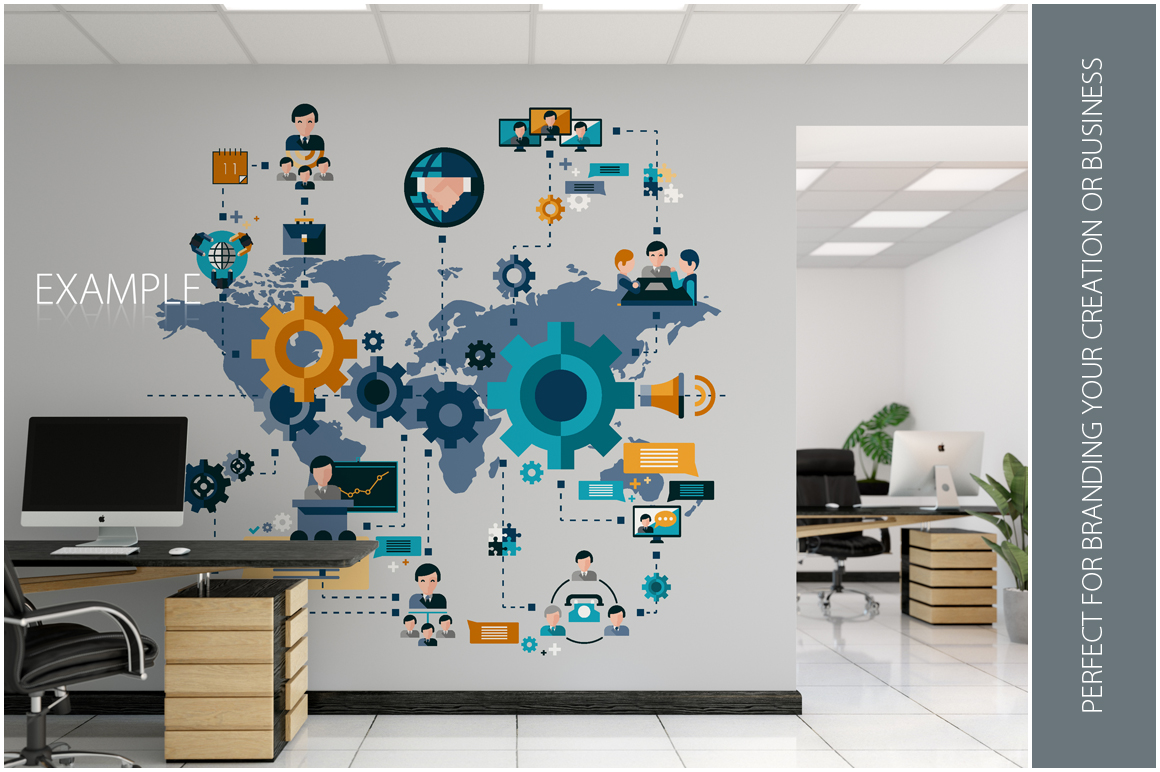 OFFICE Wall Mockup Bundle example image 13
