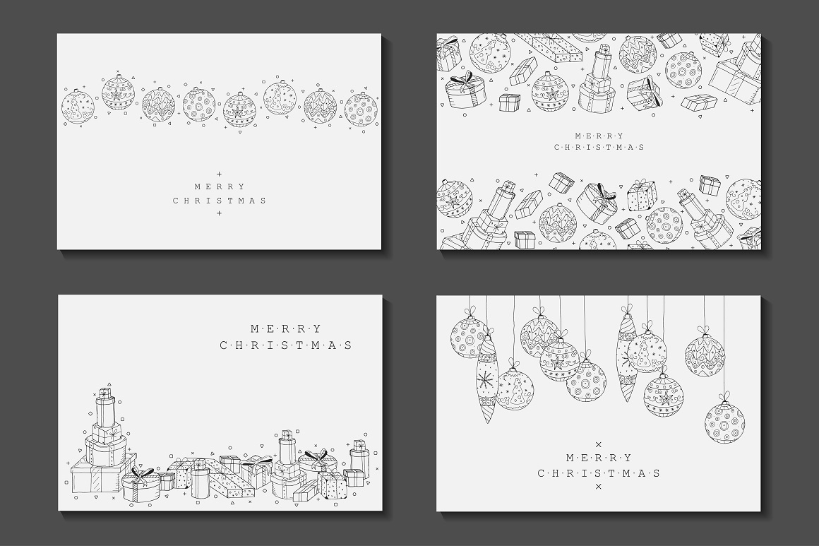 Bundle of Christmas hand drawn cards example image 1