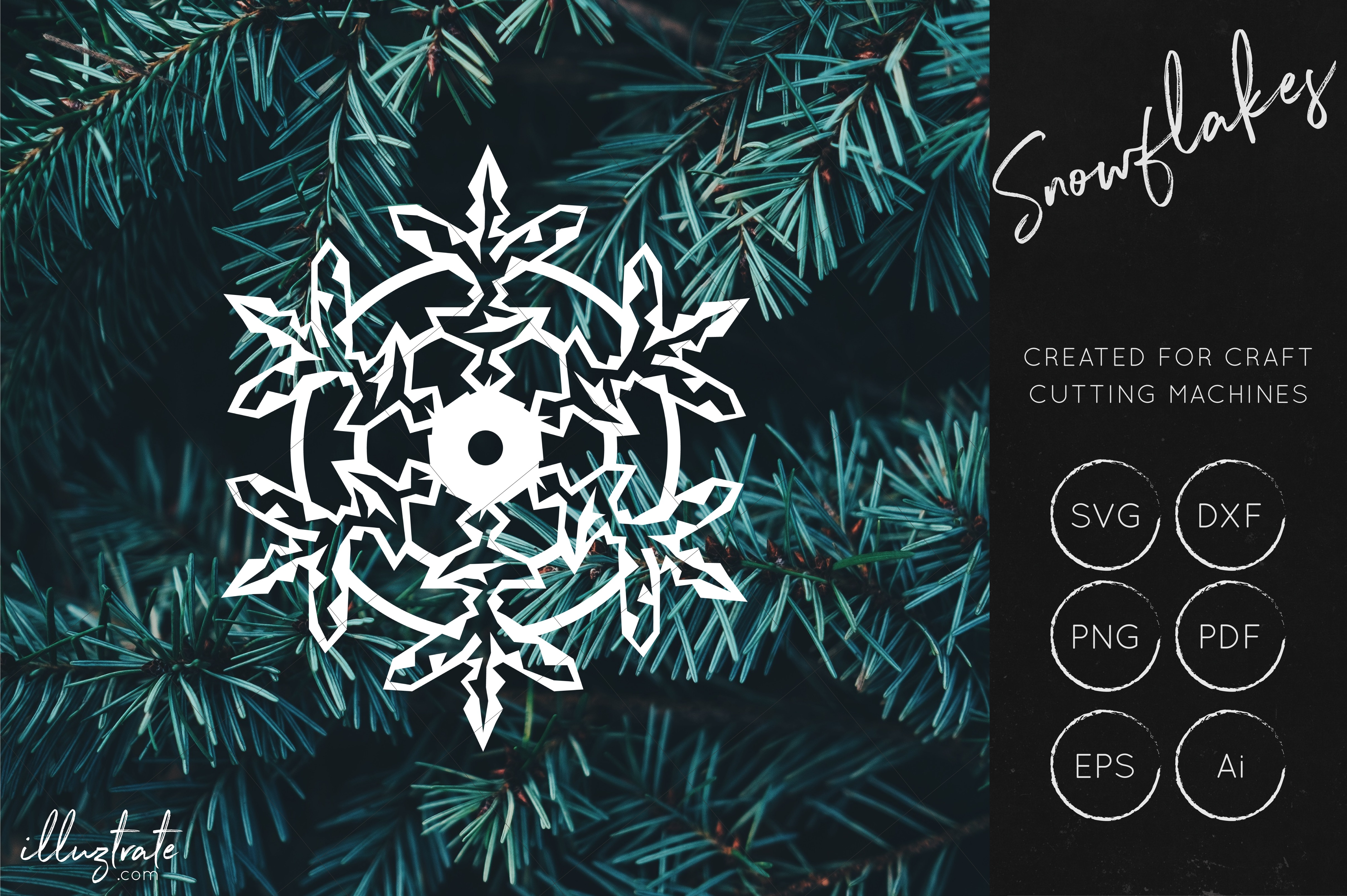 Snowflake SVG Cut File Bundles - Christmas SVG - Snowflakes example image 8