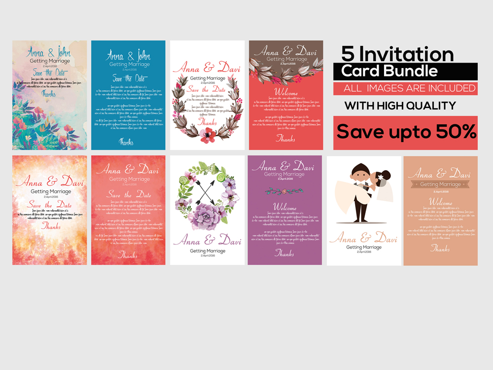 5 Double sided Save the Date Invitation Cards Bundle example image 1