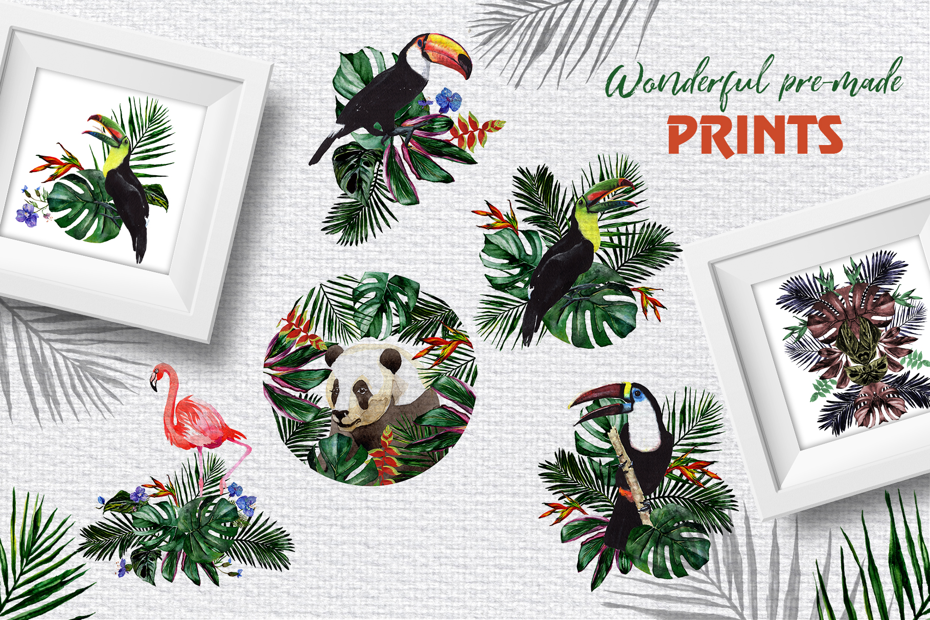 Tropical Jungle Watercolor png example image 6