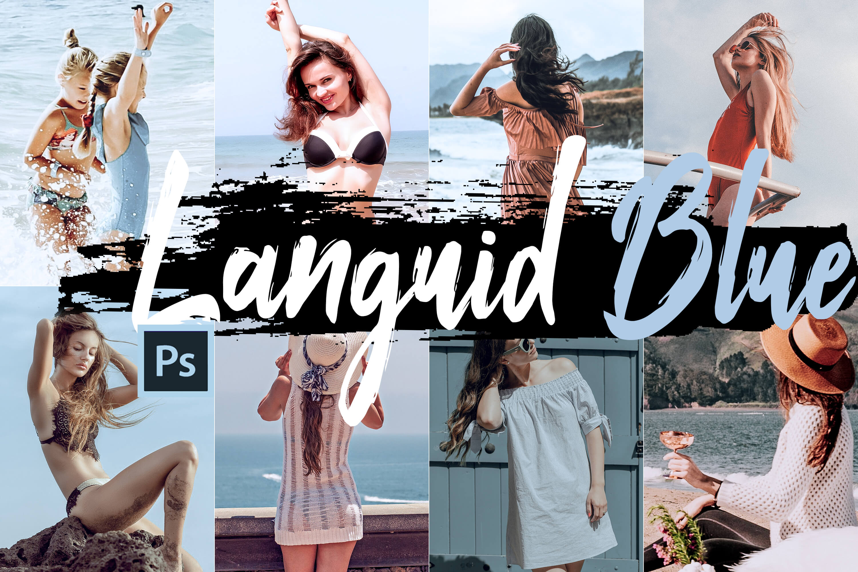 Neo Languid Blue Theme Color Grading photoshop actions example image 1