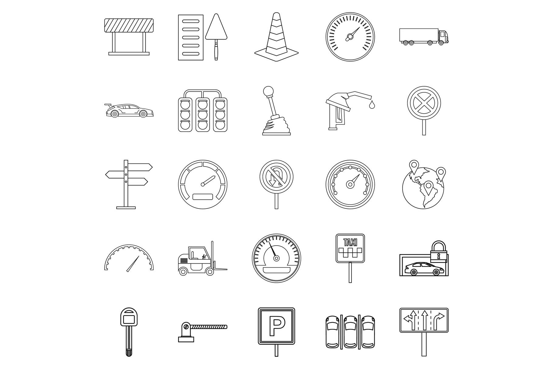 Mover icons set, outline style example image 1