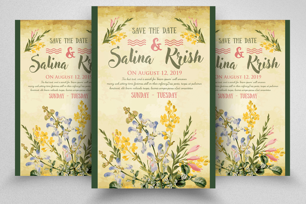 Floral Save The Date Invitation Flyer Template example image 1