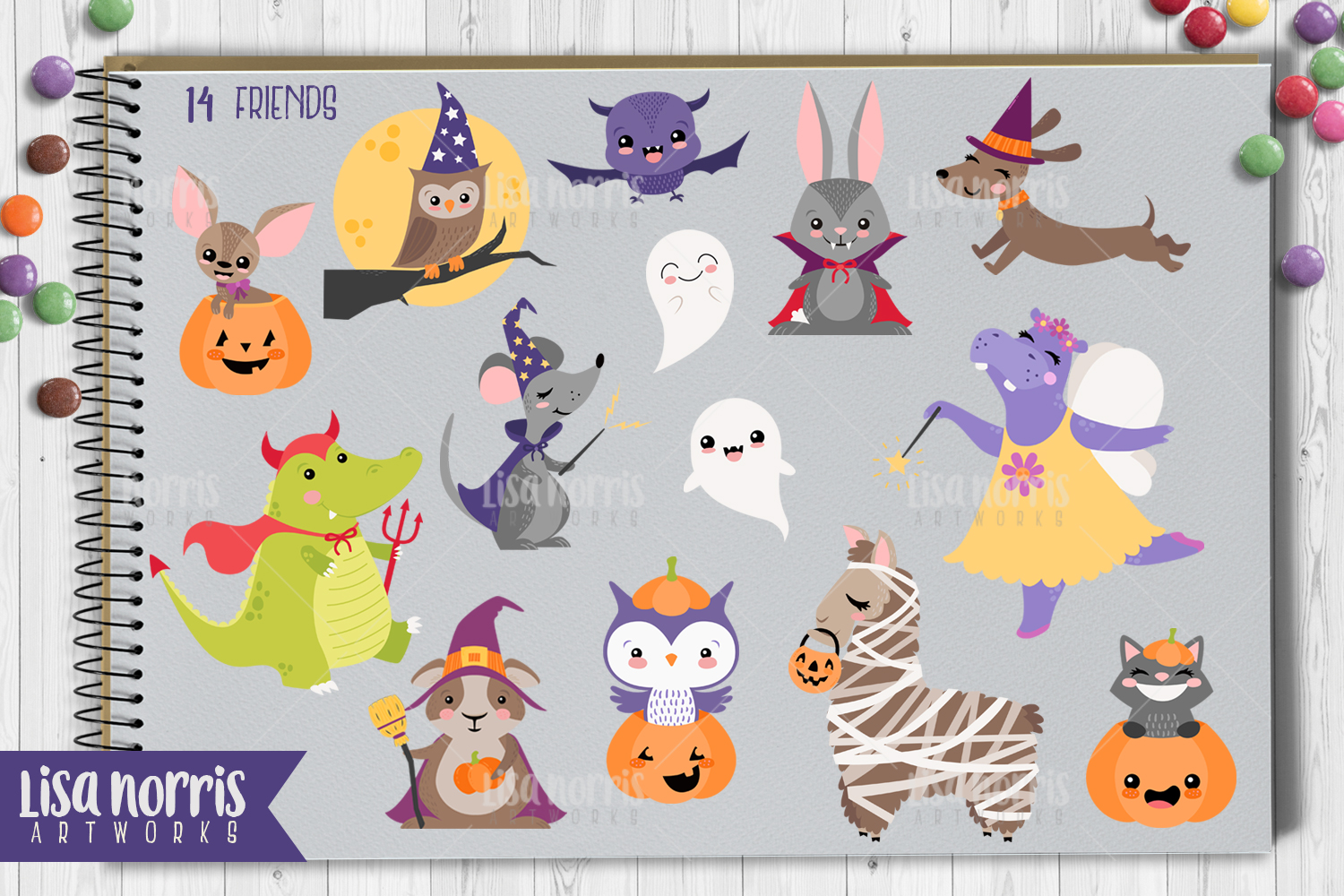 Halloween Friends Clip Art, Patterns, & SVG Cutting Files example image 2