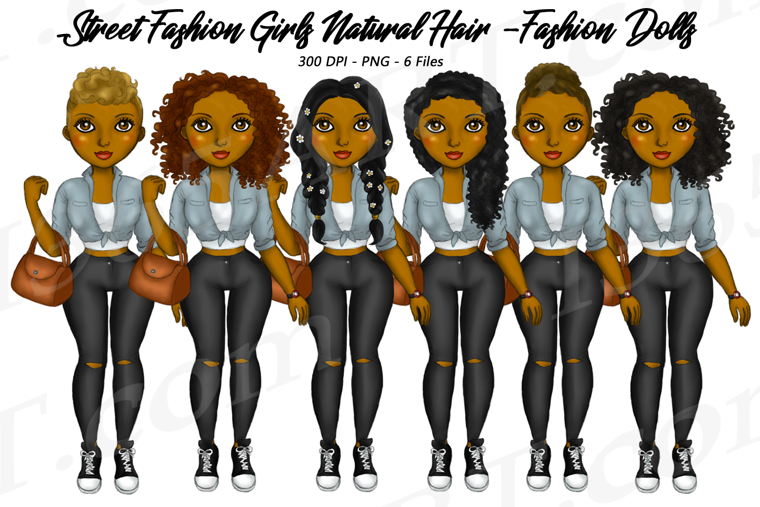 Street Fashion Girls Natural Hair Clipart, Black Girl Dolls example image 1