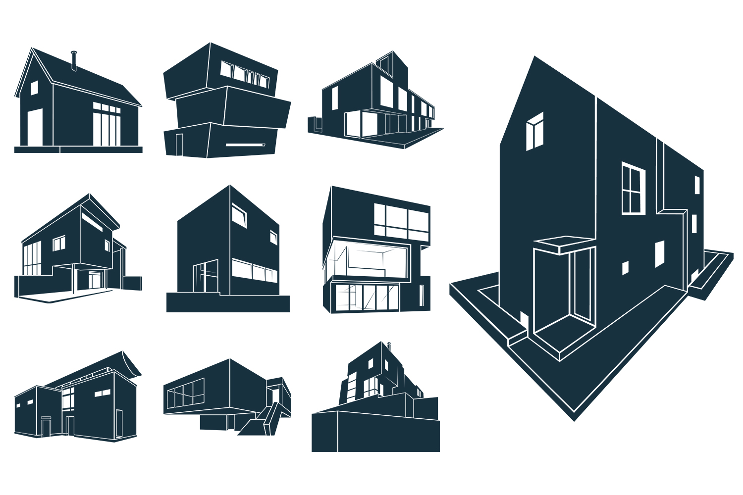 VECTOR BUNCH MODERN HOUSES example image 2