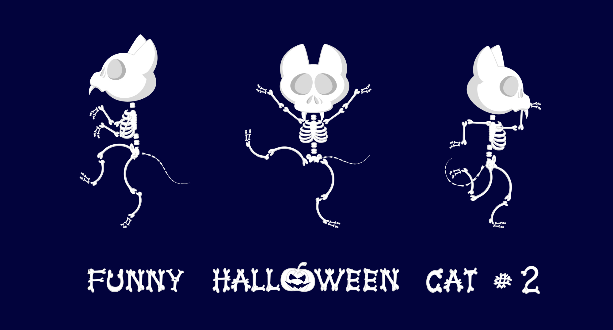 Set of 9 funny skeletons cats - 1 example image 2