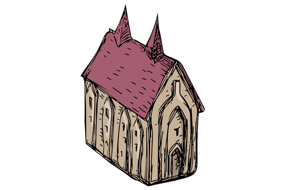 Medieval Church Drawing example image 1