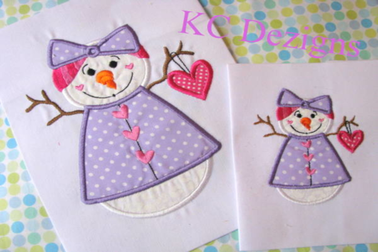 Snow Lady Holding Heart Machine Applique Embroidery Design example image 1