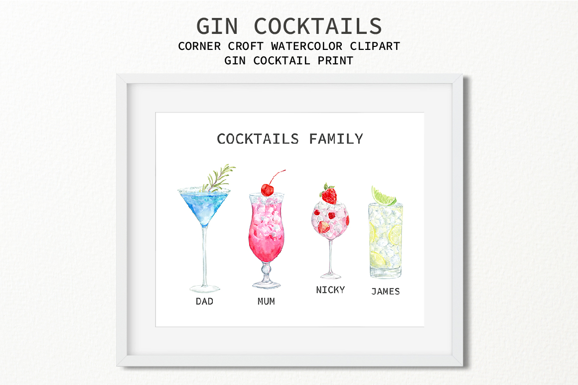 Watercolor Gin Cocktail Illustration and Prints example image 9