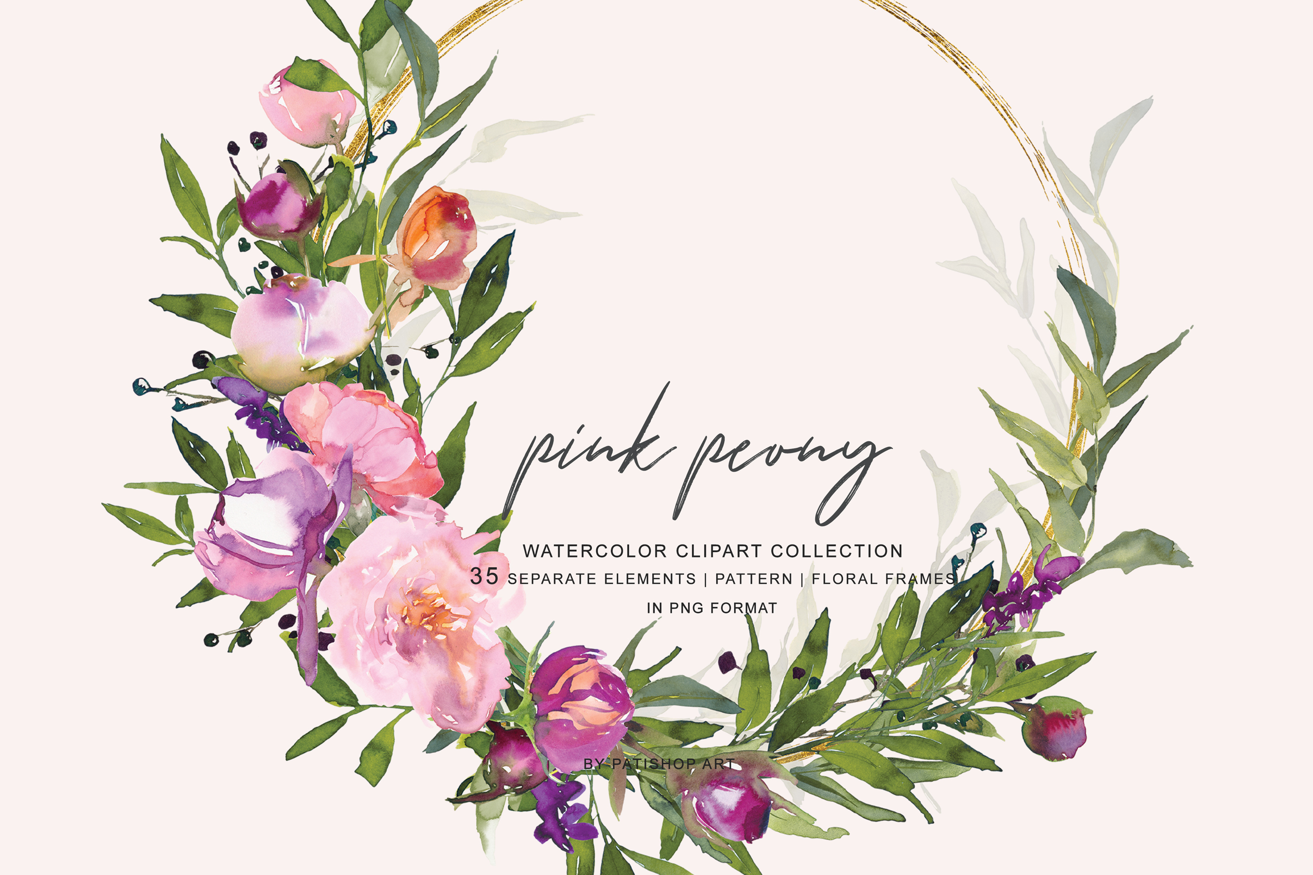 Watercolor Pink Peony Frame Collection example image 4