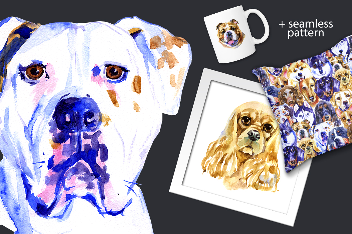 Watercolor dogs example image 3