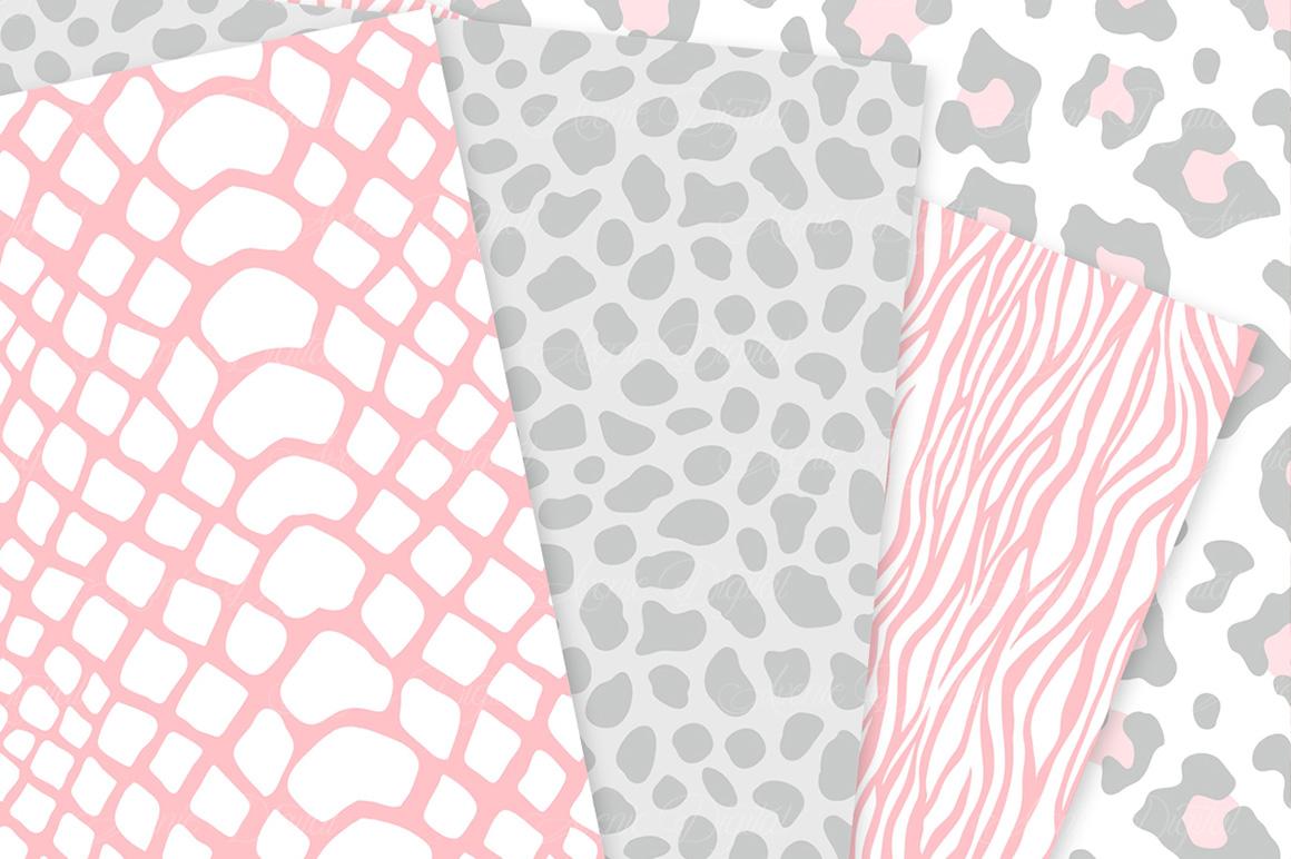 Pink and Gray Animal Print Vector Patterns - Pink Safari Seamless Digital Papers example image 4