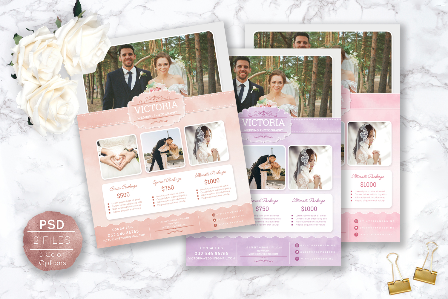 Soft Watercolor Wedding Photography Flyer example image 2