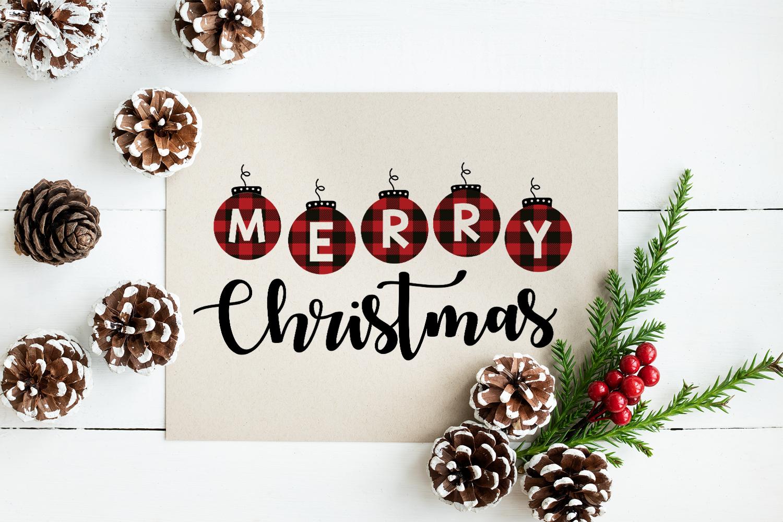 Merry Christmas Buffalo Plaid Svg example image 2
