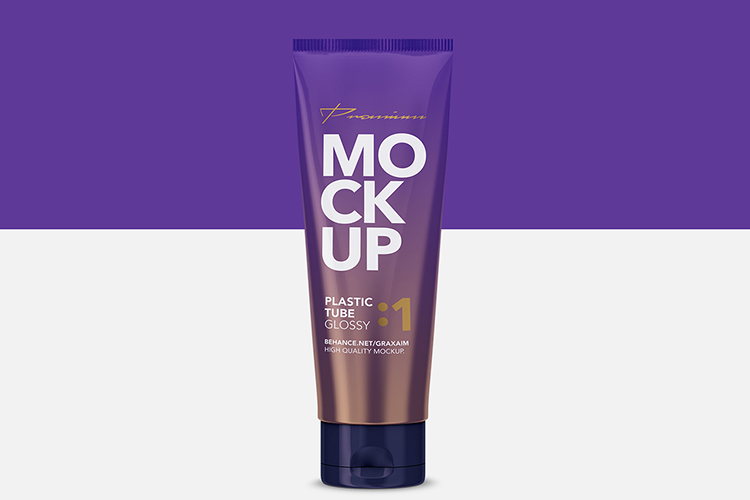 Glossy Plastic Cosmetic Tube Mockup - Front View - 01 example image 1